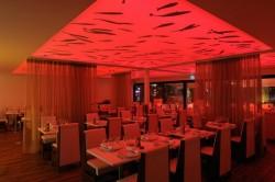 Plafond tendu lumineux en couleur pour restaurant - Auberge du port à Bandol (83) près de Toulon