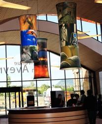 Luminaires Design en toile tendue rétroéclairée avec impression numérique, Aire du Viaduc de Millau (Aveyron 12)